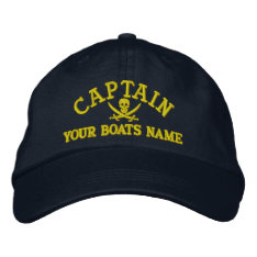 Personalized Pirate Sailing Captains Embroidered Baseball Hat at Zazzle