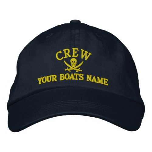 Personalized pirate sailing crew embroidered baseball hat