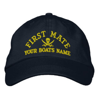 Personalized pirate sailing first mate embroidered hats