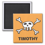 Personalized pirate scull and crossbones magnet