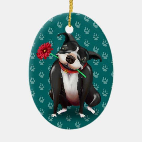 personalized pitbull christmas ornaments blue
