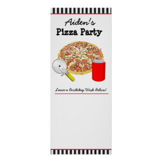 Personalized Pizza Birthday Party Poster, Sign It!