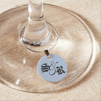 Personalized Plain Light Blue Wine Tag Wine Glass Charms