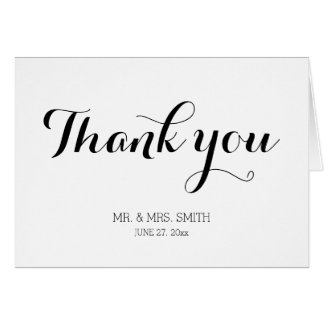 Personalized Plain White Wedding Thank You Cards