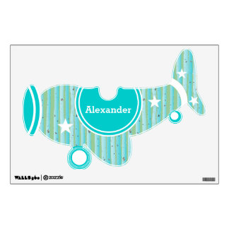 Personalized Plane Baby Boy or Toddler Blue Green Wall Decal