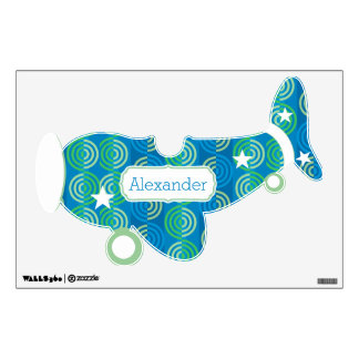 Personalized Plane Baby Boy or Toddler Blue Green Wall Sticker