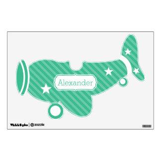 Personalized Plane Baby Boy or Toddler Green Wall Sticker