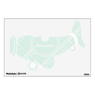 Personalized Plane Baby Boy or Toddler Mint Green Wall Decal
