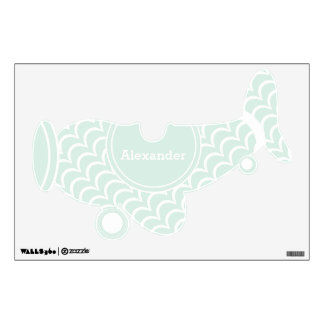 Personalized Plane Baby Boy or Toddler Mint Green Wall Sticker
