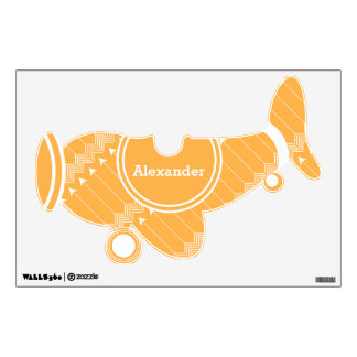 Personalized Plane Baby Boy or Toddler Orange Wall Decal