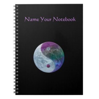 Personalized Planet Earth Yin Yang Symbol Notebook