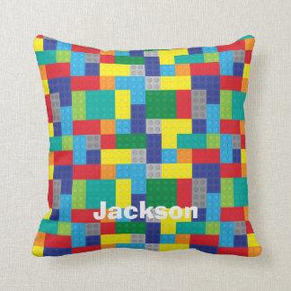 Personalized Plastic Toy Bricks Building Blocks Throw Pillow