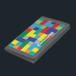 """Personalized Plastic Toy Bricks Building Blocks Tri-fold Wallet<br><div class=""""desc"""">A pattern of square and rectangle plastic toy bricks.  Personalize this boy&#39;s wallet with a name or short phrase.</div>"""