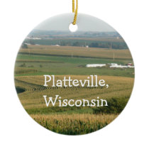 Personalized Platteville  Wisconsin Cheese Head Ceramic Ornament