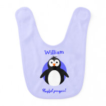Personalized playful penguin blue bib