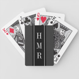 Personalized playing cards with 3 letter monogram