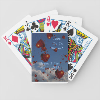 Personalized Playing Cards with floating hearts