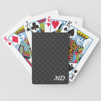 Personalized playing cards with quatrefoil pattern