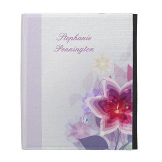 Personalized plum purple floral iPad case