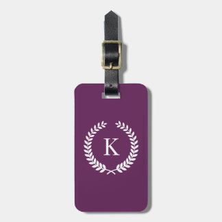 Personalized Plum White Monogram Tag For Luggage