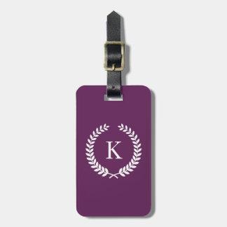 Personalized Plum White Monogram Travel Bag Tag