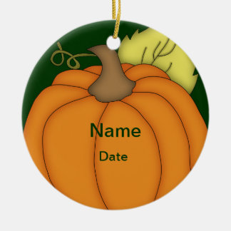Personalized Plump Pumpkin Halloween Ornament