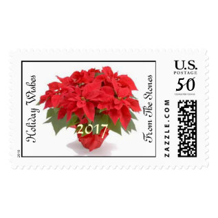 Personalized Pointsettia Holiday Stamps Template at Zazzle