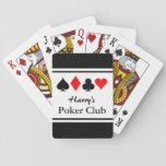 """Personalized poker club playing cards with suits<br><div class=""""desc"""">Personalized poker club playing cards with suits design. Personalized name poker cards. Cool gift for men who love playing poker and other card games. Four suits design with custom name poker club. Also available for bridge. Spade, diamonds, clubs and hearts. Fun Birthday party present for guys; dad, father, brother, uncle,...</div>"""