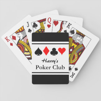 Personalized poker club playing cards with suits
