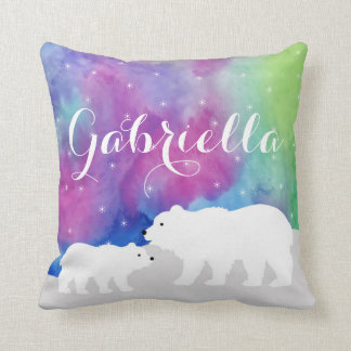 Personalized Polar Bears Throw Pillow