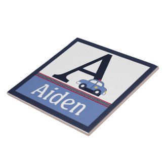 Personalized Police Car Letter Name Tile