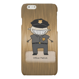 Personalized Police Officer Cartoon Custom Name Matte iPhone 6 Case