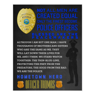 Personalized Policeman Gift. Police Sign. EMT Poster