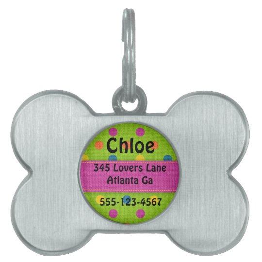 Personalized Polka Dot Bone Dog Tag