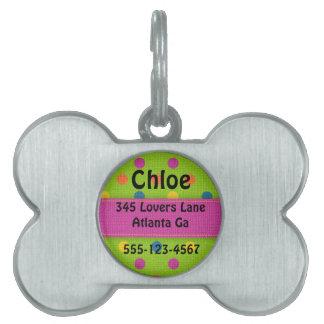 Personalized Polka Dot Bone Dog Tag Pet ID Tags