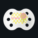 """Personalized Polka Dot Lollipop Pacifier<br><div class=""""desc"""">A cute personalized lollipop pacifier for your favorite little one! Click """"customize it"""" for font and text options. Coordinating items available at www.gem-ann.com (Zazzle store).</div>"""