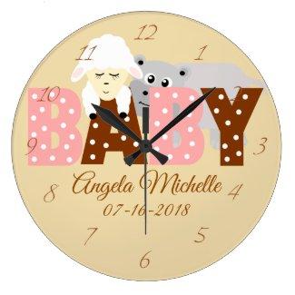 Personalized Polka Dot Nursery Animals Baby Clock