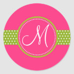 Personalized Polka Dot Ribbon Initial Stickers