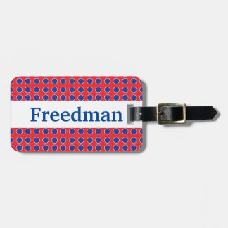 Personalized Polka Dot with Surname Luggage Tag