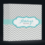 """Personalized Polka Dots Chevron Gray Recipe Binder<br><div class=""""desc"""">A cute and trendy kitchen recipe binder with a pretty  light gray,  aqua blue,  mint green and white polka dots and chevron pattern. Personalize this elegant binder with the name and text of your choice.</div>"""