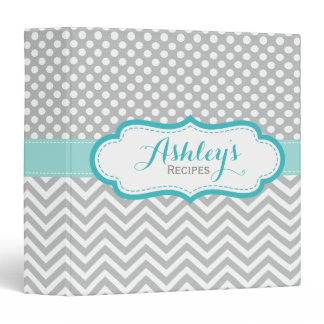 Personalized Polka Dots Chevron Gray Recipe Binder