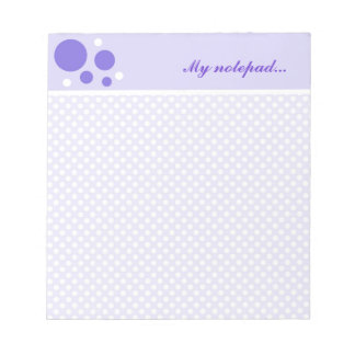 Personalized Polka Dots Notepads:Purple White Dots Notepads