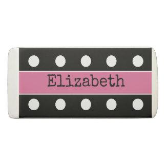 Personalized Polka dots pink Eraser