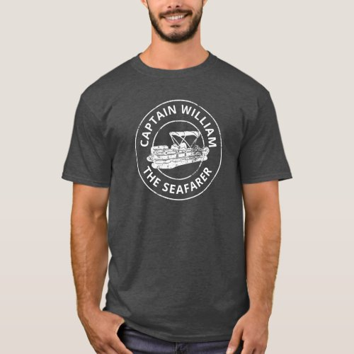 Personalized Pontoon Boat Owners Distressed Style T_Shirt