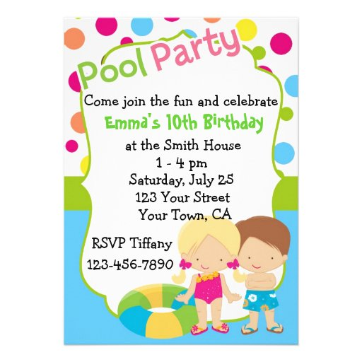 Personalized Pool Party Birthday Custom Invitation
