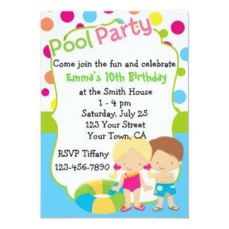 Personalized Pool Party Birthday Custom Invitation