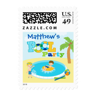 Personalized pool party boys birthday party stamp