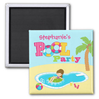 Personalized pool party girls birthday party 2 inch square magnet