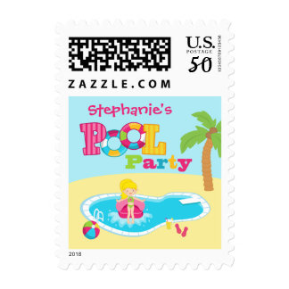 Personalized pool party girls birthday party stamp