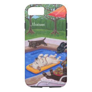 Personalized Pool Party Labradors 2 iPhone 7 Case